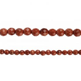 "Brown Goldstone Faceted Round Beads 8mm 14"" Strand"