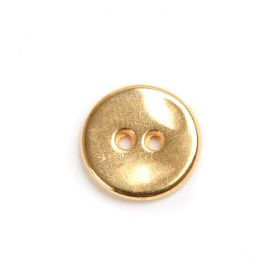 Gold Plated Zamak Button 2 Holes 15mm Pack 2