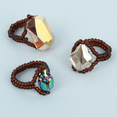 Seed Bead & Swarovski Crystal Rings | Take a Make Break