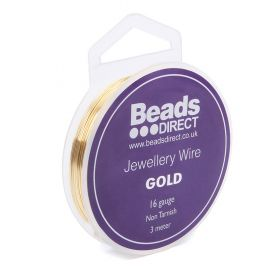 Gold Colour Copper Craft Wire 16 Gauge (1.25mm) 3 Metre Reel