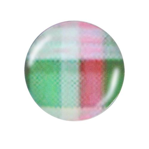 Glass cabochon with graphics K14 PT1245 / green-pink / 14mm / 4pcs