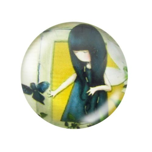 Glass cabochon with graphics 12mm PT1494 / yellow-navy blue / 4pcs