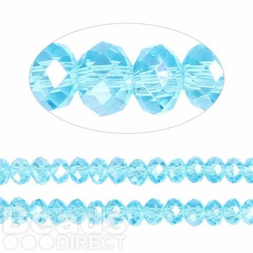 Essential Crystal Faceted 6mm Rondelle Turquoise AB 100pack