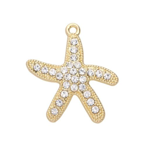 Glamm ™ Starfish / charm pendant / with zircons / 28x26x3mm / gold plated / 1pcs