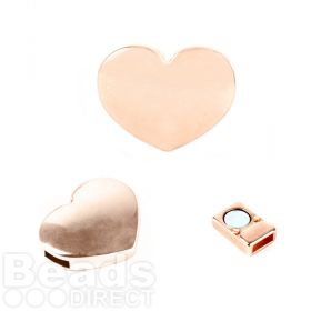 Rose Gold Plated Magnetic Heart Clasp for 5mm Cord 16x20mm Pk1