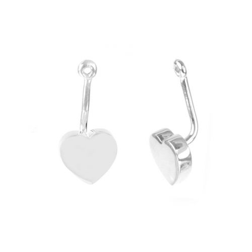 X Sterling Silver 925 Heart Earring Jacket 9x18mm 1xPair