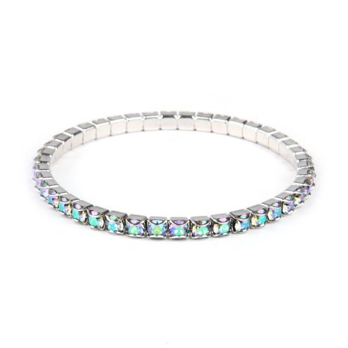 """X"" 37E02 Swarovski Crystal Stretch Bracelet Rhodium Plated with Crystal Paradise Shine 18cm Pk1"