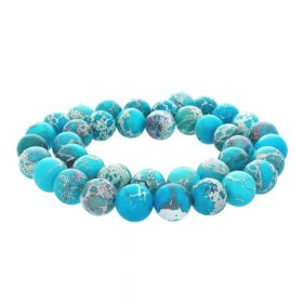 Imperial jasper / round / 6mm / blue / 64pcs