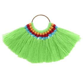 Green Cotton Fan Tassel Charm on Hoop 59x77mm Pk1