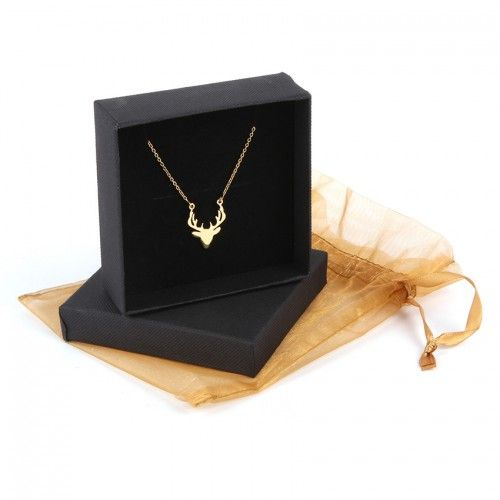 Ready To Wear Gold Plated Sterling Silver 925 Stag Head Necklace with Gift Box