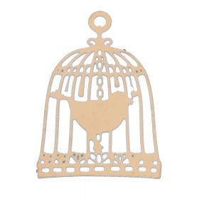 Bird in a cage / pendant filigree / surgical steel / 22x15mm / dark gold plated / 1pcs