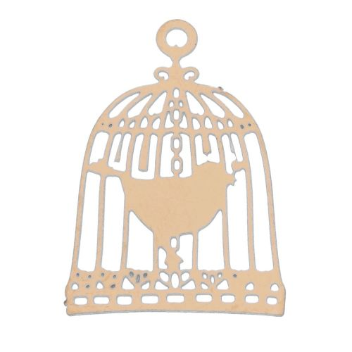 Bird in a cage / filigree pendant / surgical steel / 22x15mm / dark gold plated / 1pcs
