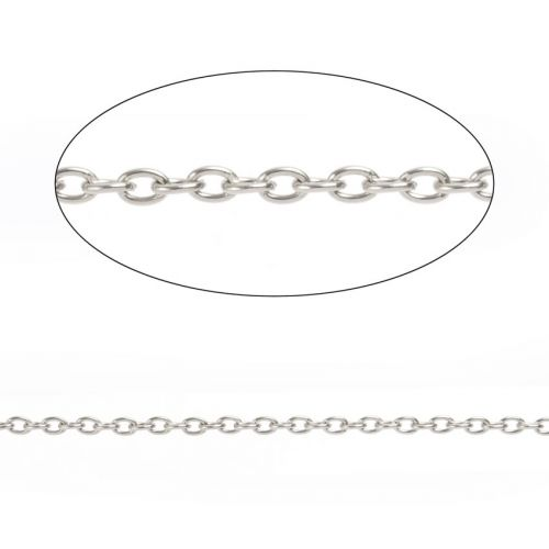 Rhodium Plated Steel Chain 2x3mm 1metre