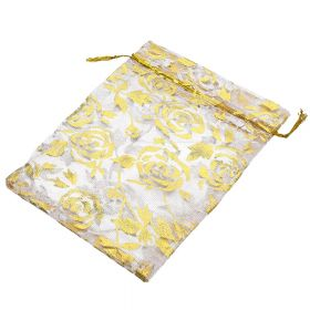Organza bag / 10x12cm / peach with gold roses / 5pcs