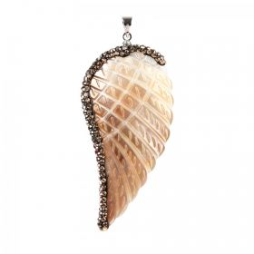 Brown Shell Angel Wing Pendant Crystal Trim & Bail 36x56mm Pk1