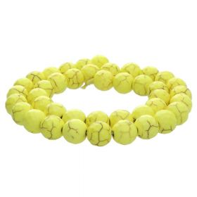 Howlite / faceted round / 6mm / yellow / 70pcs