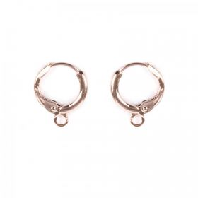 Rose Gold Plated Round Earring Base with Loop 11mm 1xPair