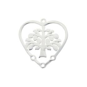Tree / heart / connector / surgical steel / 20x19.5x1mm / silver / 1pcs