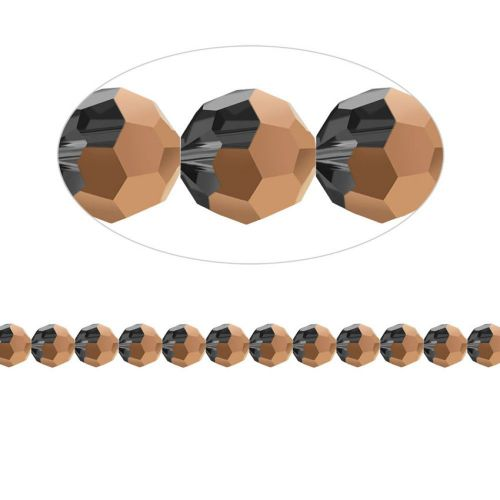 """X"" 5000 Swarovski Crystal Faceted Rounds 6mm Rose Gold Pk12"