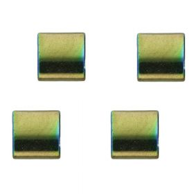 Hematite / natural stone / rectangle with 2 holes / 5x5x2mm / emerald / hole 0.7mm / 10 pcs