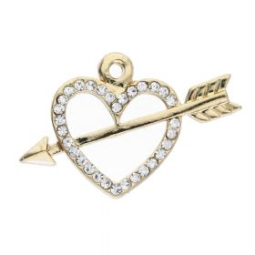 Glamm ™ Heart pierced with an arrow / charm pendant / with zircons / 15x23x2.5mm / gold plated / crystal / 1pcs