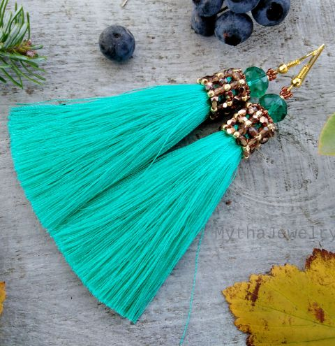 How to make earrings with tassels - A beaded tassel cap