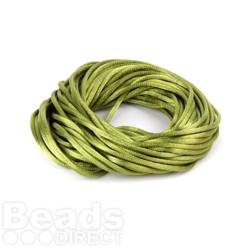 Lime Green 2mm Rattail Satin Cord 10metres