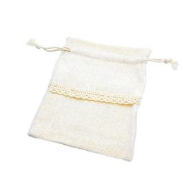 Linen bag with ribbon / 10x14cm / cream / 5pcs