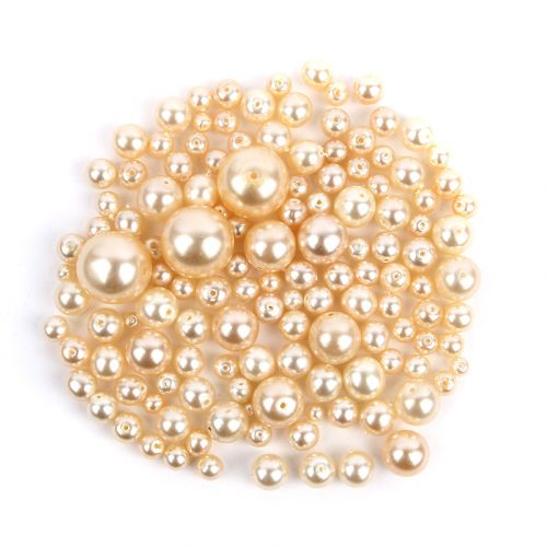 Preciosa Czech Glass Round Pearl Mix Cream 50g