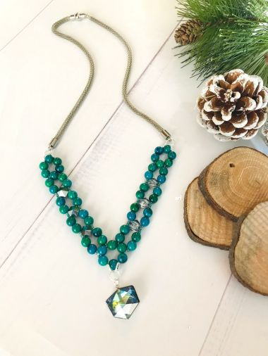 How to make a beaded mesh chain necklace - step by step tutorial