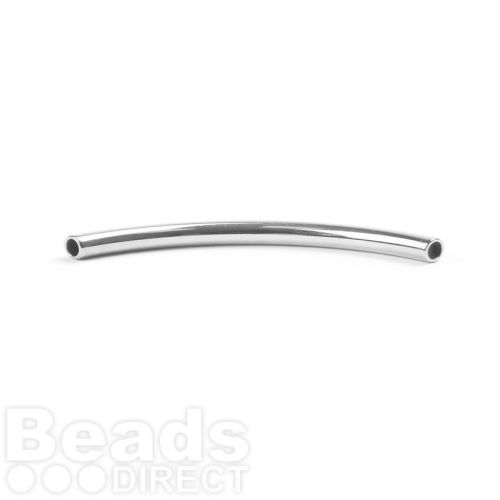 Sterling Silver 925 Tube Bead Curved 35mm Inner-2mm Pk1