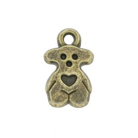 Teddy bear with heart / charm pendant / 14x8mm / antique bronze / 8pcs
