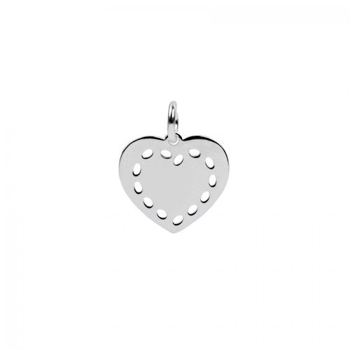 Sterling Silver 925 Heart Charm Cut Out Edge with Ring 12x13mm Pk1