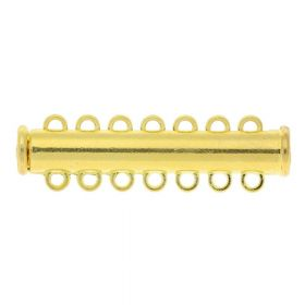 Magnetic clasp / overlapping / 7 loops / 10.5x38x7mm / gold / 1.5mm hole / 1pcs