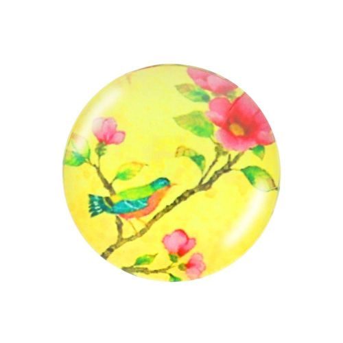 Glass cabochon with graphics K14 PT1208 / yellow / 14mm / 4pcs