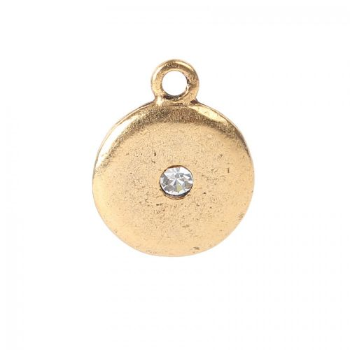 Nunn Design Antique Gold CZ Crystal Disk Charm 14mm Pk1