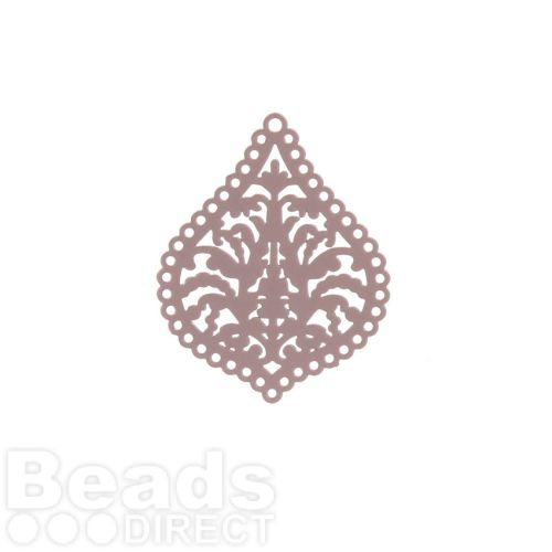 Dark Brown Brass Filigree Drop Charms 22x27mm Pk6