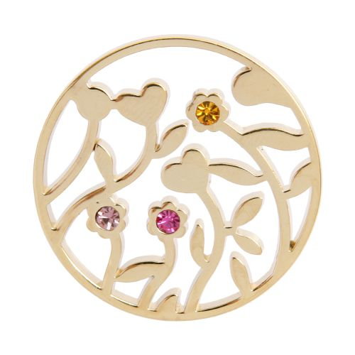 X-Gold Plated Flower Filigree Coloured Crystal Coin For Interchangeable Locket 32mm Pk1