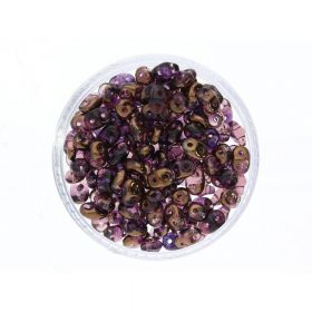 SuperDuo™ / glass beads / 2.5x5mm / Luster Bronze / Amethyst / 10g / ~140pcs
