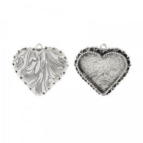 Nunn Design Antique Silver Charm Setting Fancy Heart 30x35mm Pk1