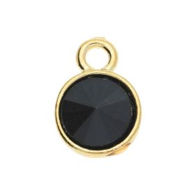 Glamm ™ Spotlight / charm pendant / 14x10x5mm / gold plated / black crystal / 2pcs