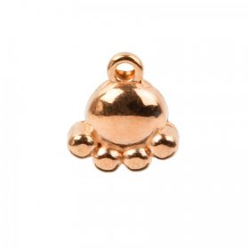 Rose Gold Plated Zamak Small Dog Paw Charm 10x12mm Pk1
