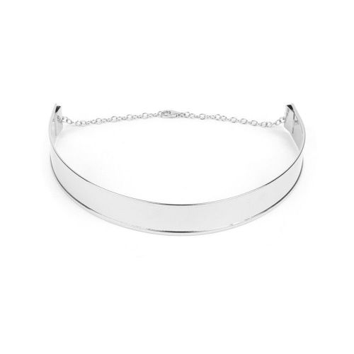 Silver Plated Choker Base 18mm w/Chain and Lobster Pk1