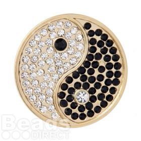 KB Gold Plated Yin and Yang Crystal Coin Disk for Interchangeable Locket 32mm Pk1