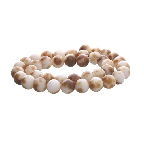 Jade / round / 6mm / white-brown / 68pcs