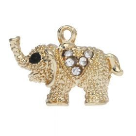Glamm ™ Elephant / charm pendant / with zircons / 14x20x11mm / gold plated / Crystal / 1pcs