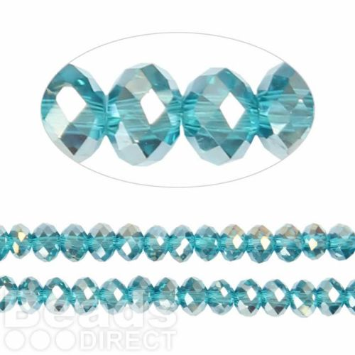 Essential Crystal Faceted 6mm Rondelle Aqua AB 100pack