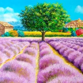Diamond painting / mosaic / lavender field / 20x25cm / 1pcs