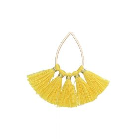 Tassel / viscose thread / teardrop / 36mm / yellow / 1pcs