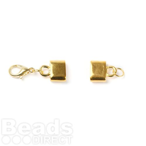 Gold Plated Flat Leather Clasp with Lobster 9x3mm Pk1